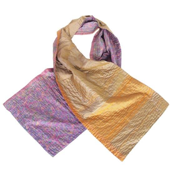 Silk sari kantha scarf | hyacinth from Tulsi Crafts