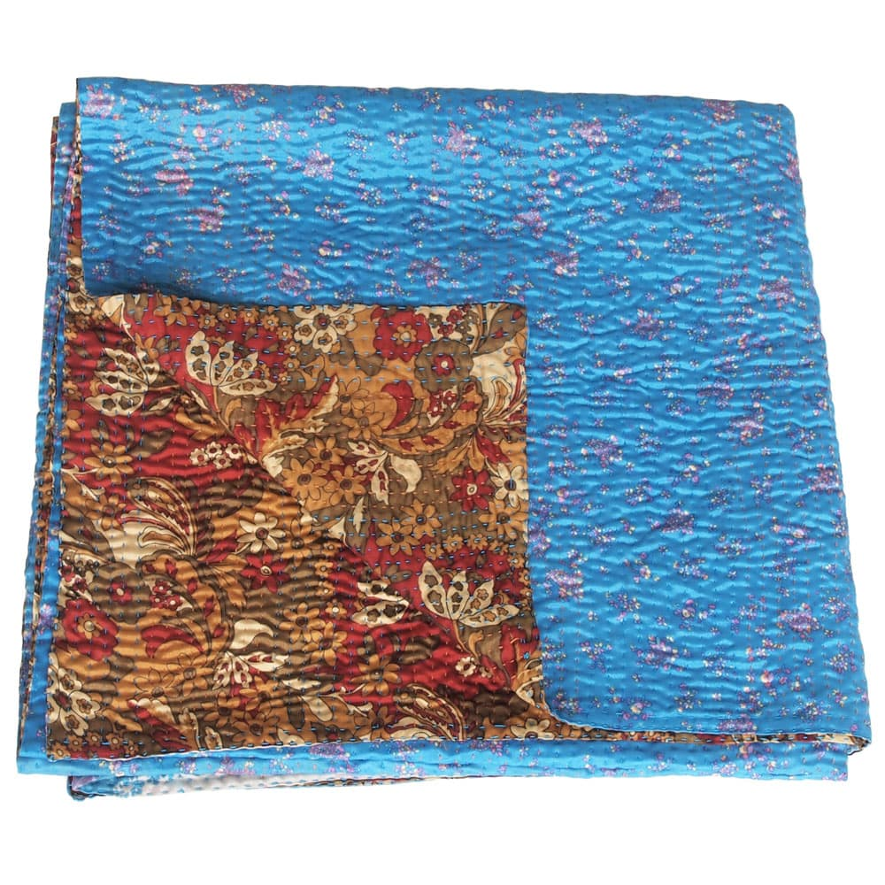 Silk sari kantha blanket | nati from Tulsi Crafts